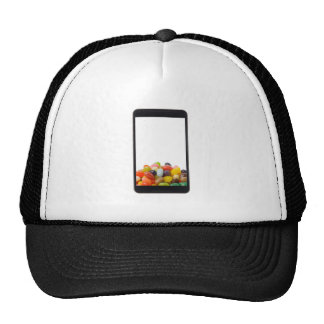 Android tablet with jelly bean trucker hat