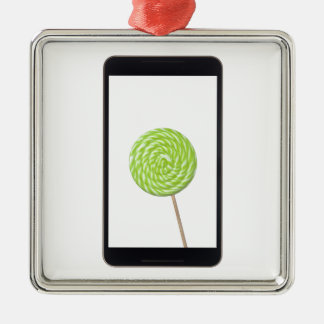 Android tablet with lollipop metal ornament