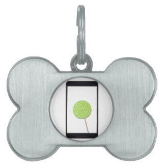 Android tablet with lollipop pet name tags