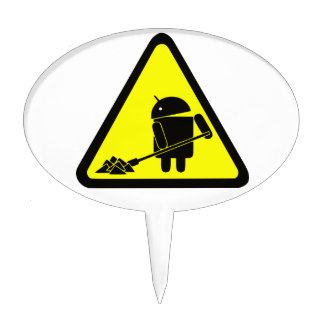 Android under construction oval cake topper