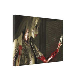 Android woman with a Bloody arm Gallery Wrap Canvas