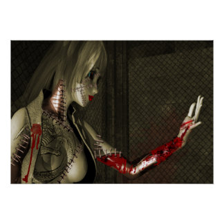 Android woman with a Bloody arm Poster