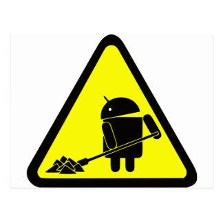 Androide bajo construcción tarjetas postales