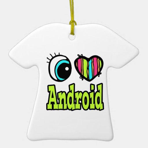 Androide brillante del amor del corazón I del ojo Adorno Navideño De Cerámica En Forma De Playera