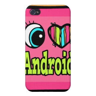Androide brillante del amor del corazón I del ojo iPhone 4 Carcasas