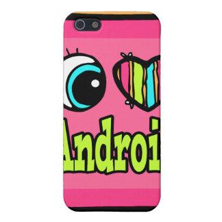 Androide brillante del amor del corazón I del ojo iPhone 5 Carcasas
