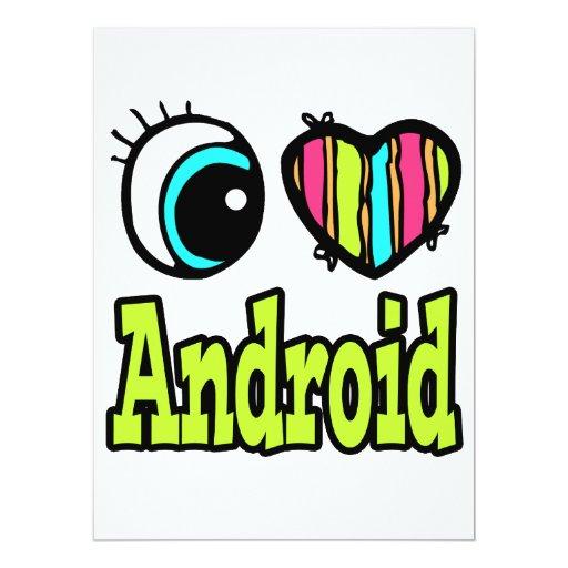 Androide brillante del amor del corazón I del ojo Invitación 16,5 X 22,2 Cm