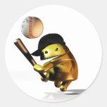 androide del béisbol pegatina redonda