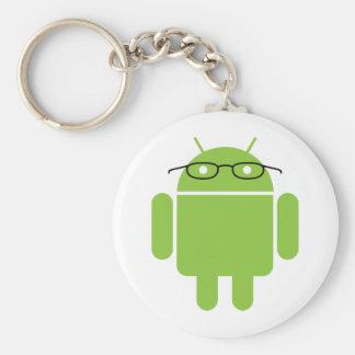Androide del empollón llavero redondo tipo pin