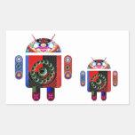 Androide del papá y del bebé - Art101 por Navin Rectangular Pegatinas