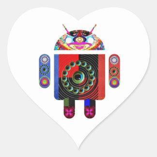 Androide del papá y del bebé - Art101 por Navin Pegatina En Forma De Corazón