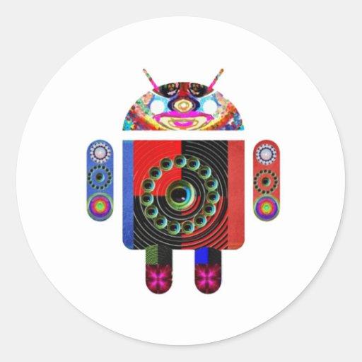 Androide del papá y del bebé - Art101 por Navin Pegatina Redonda