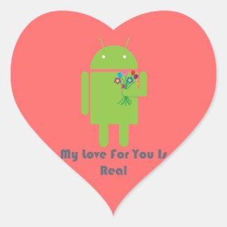 Androide en amor calcomania corazon