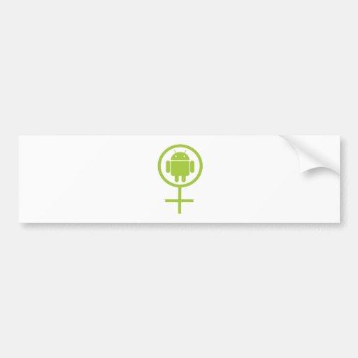 Androide femenino (muestra/símbolo) pegatina de parachoque