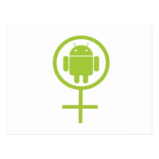 Androide femenino (muestra/símbolo) postales