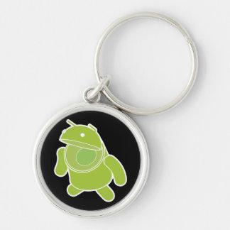 Androide Llavero Redondo Plateado