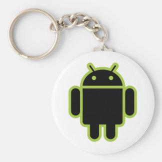 Androide oscuro llavero redondo tipo pin