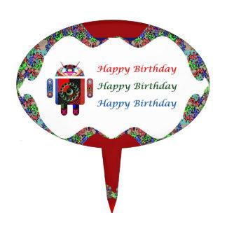 ANDROIDE por el cumpleaños de Navin HappyBirthday Figuras De Tarta