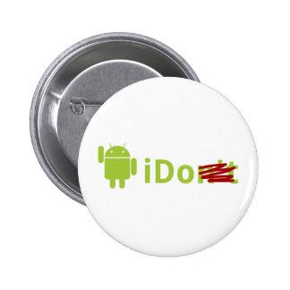 """Androide """"que"""" abotono pin redondo 5 cm"""