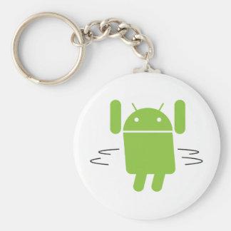 Androide - sacuda su botín llavero redondo tipo pin