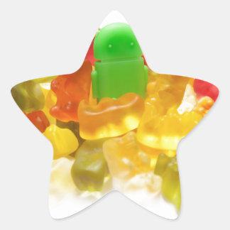 Androide y bears.jpg pegatina en forma de estrella