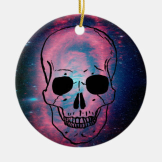 andromeda and skull ceramic ornament