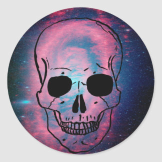 andromeda and skull classic round sticker
