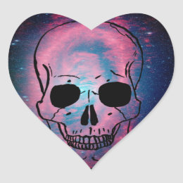 andromeda and skull heart sticker