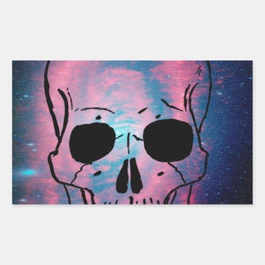 andromeda and skull rectangular sticker