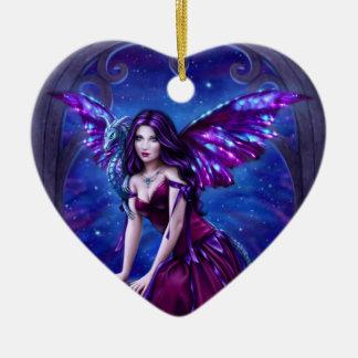 Andromeda Dragon Art Ceramic Heart Ornament