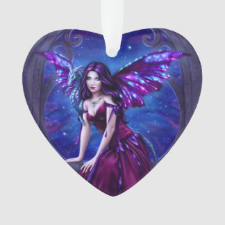 Andromeda Dragon Art Heart Shaped Ornament