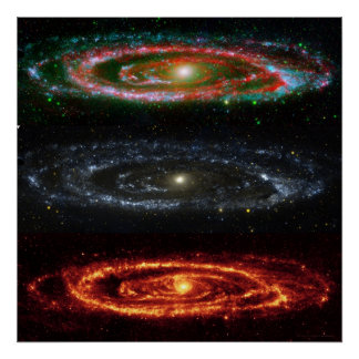 Andromeda Galaxy in Red-Vis-UV 48x48 (35x35) Print