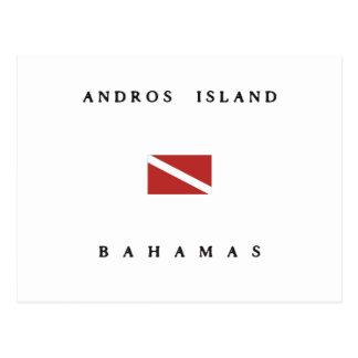 Andros Island Bahamas Scuba Dive Flag Postcard
