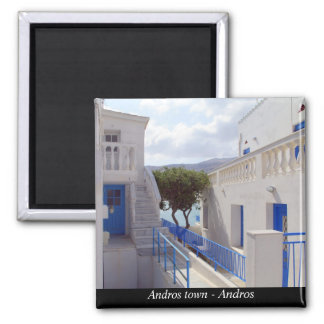 Andros town - Andros 2 Inch Square Magnet
