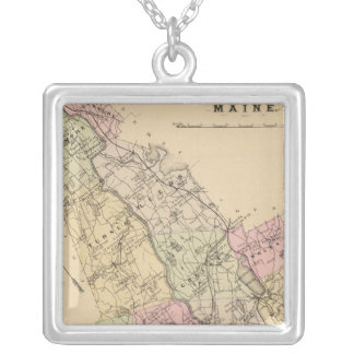 Androscoggin County, Maine Map Silver Plated Necklace
