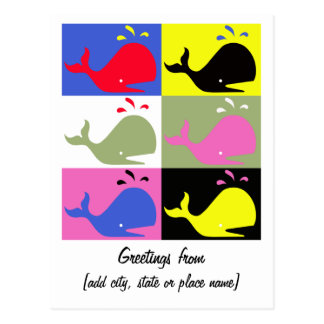 """Andy Whale-Hole™ (6)_""""Greetings From"""" Template Postcard"""