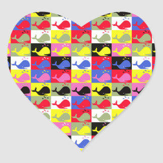 Andy Whale-Hole™_Lots o' whales heart-shaped Heart Sticker