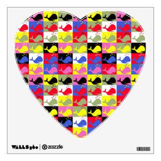 Andy Whale-Hole™_Lots o' whales_Heart-Shaped Wall Sticker