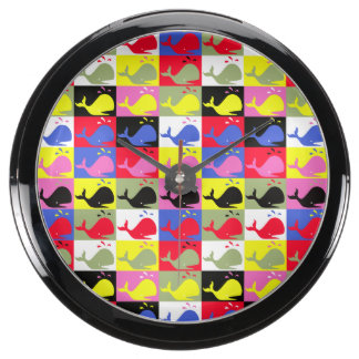 Andy Whale-Hole™_Lots o' whales pattern Aqua Clocks