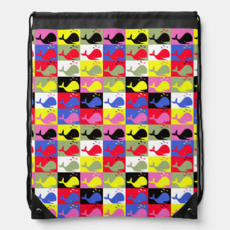 Andy Whale-Hole™_Lots o' whales pattern Drawstring Bag