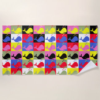 Andy Whale-Hole™ pattern_Lots o' colorful whales Beach Towel
