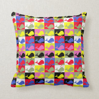 Andy Whale-Hole™ pattern_Lots o' little whales 2 Throw Pillow