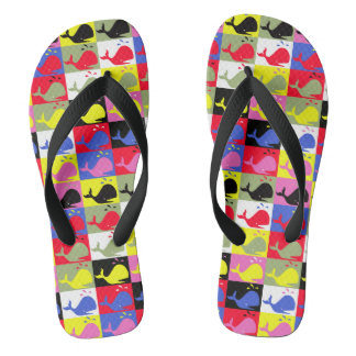 Andy Whale-Hole™ pattern_Lots o' little whales Flip Flops