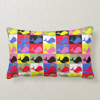 Andy Whale-Hole™ pattern_Lots o' little whales Lumbar Pillow