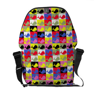 Andy Whale-Hole™ pattern_Lots o' little whales Messenger Bag