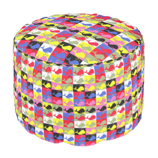 Andy Whale-Hole™ pattern_Lots o' little whales Round Pouf