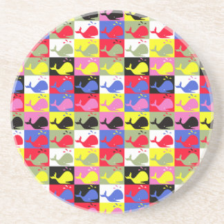 Andy Whale-Hole™ pattern_Lots o' little whales Sandstone Coaster