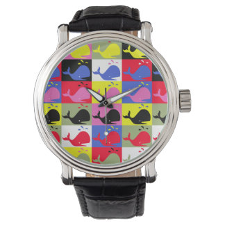 Andy Whale-Hole™ pattern_Lots o' little whales Wrist Watch