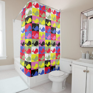 Andy Whale-Hole™ repeating pattern_colorful whales Shower Curtain