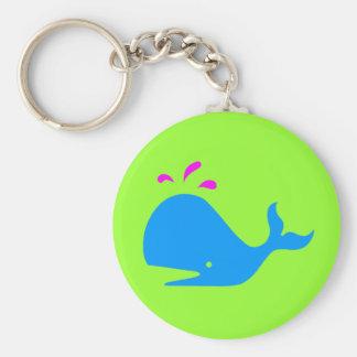 Andy Whale Singletons_aqua,magenta on green Keychain